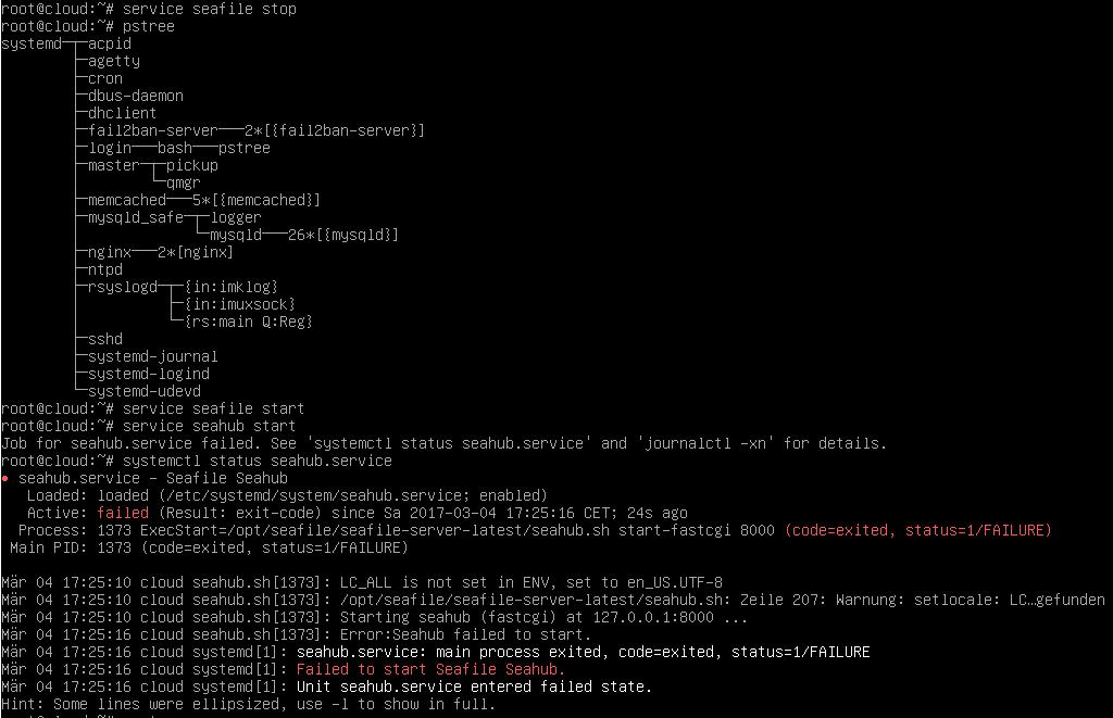 502 Bad Gateway - Seahub does not start - Seafile Server